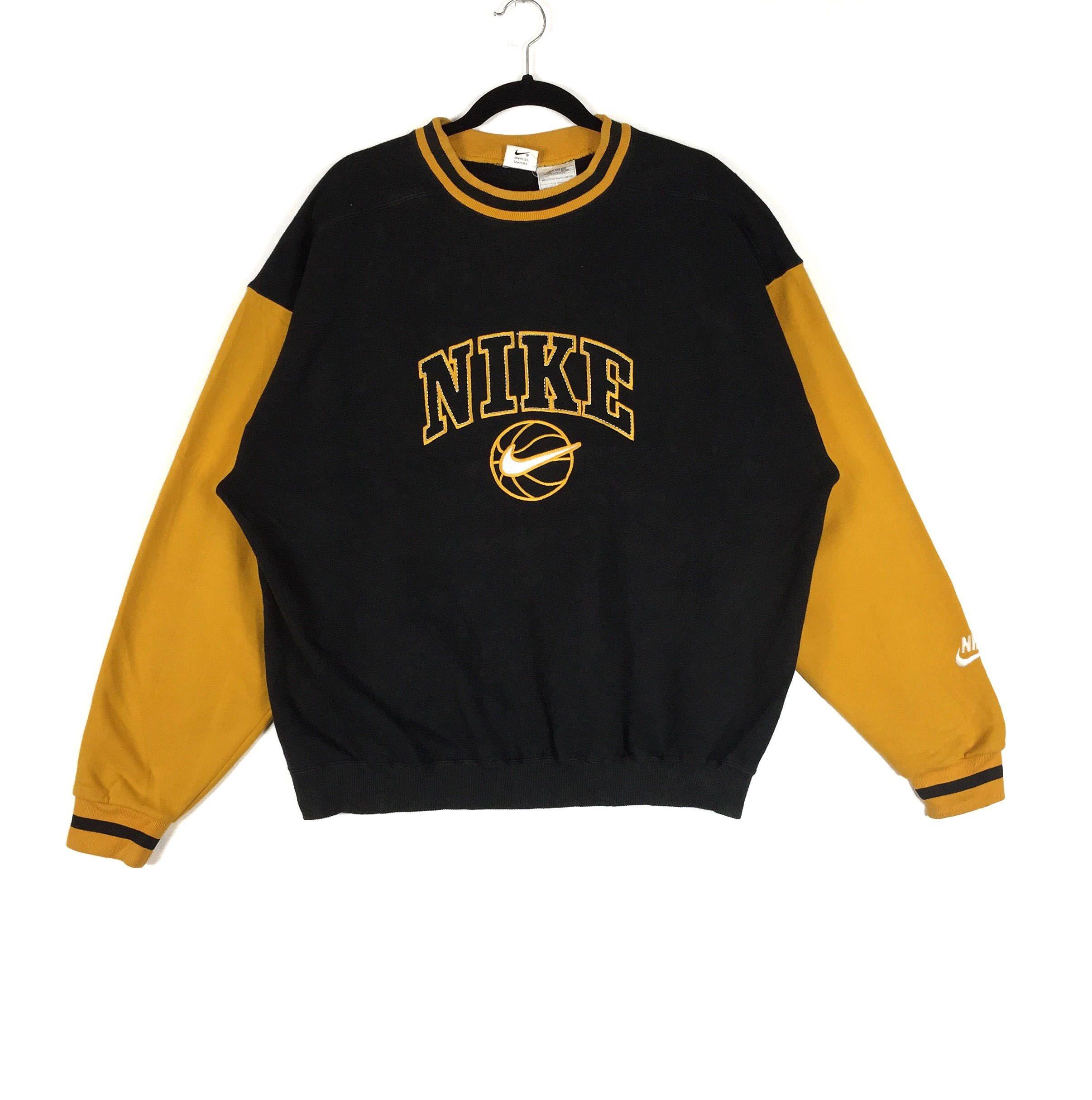 Rare Colour Block Black Yellow Sweatshirt Crew Neck Nike Swoosh Basketball Embroidery Big Logo Nike Sport Fashion Clothing Size Large Sweatshirts Sport Fashion Yellow Sweatshirt [ 2430 x 2412 Pixel ]