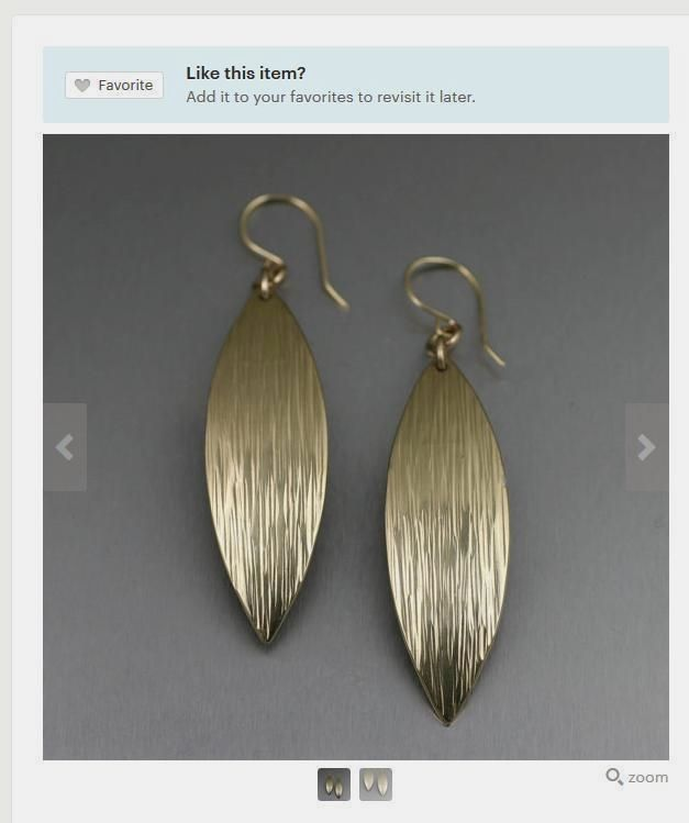 Exceptional Chased Gold Leaf Earrings Presented on #Etsy #GoldJewelry #Earrings https://www.etsy.com/listing/246404112/chased-nu-gold-brass-medium-leaf