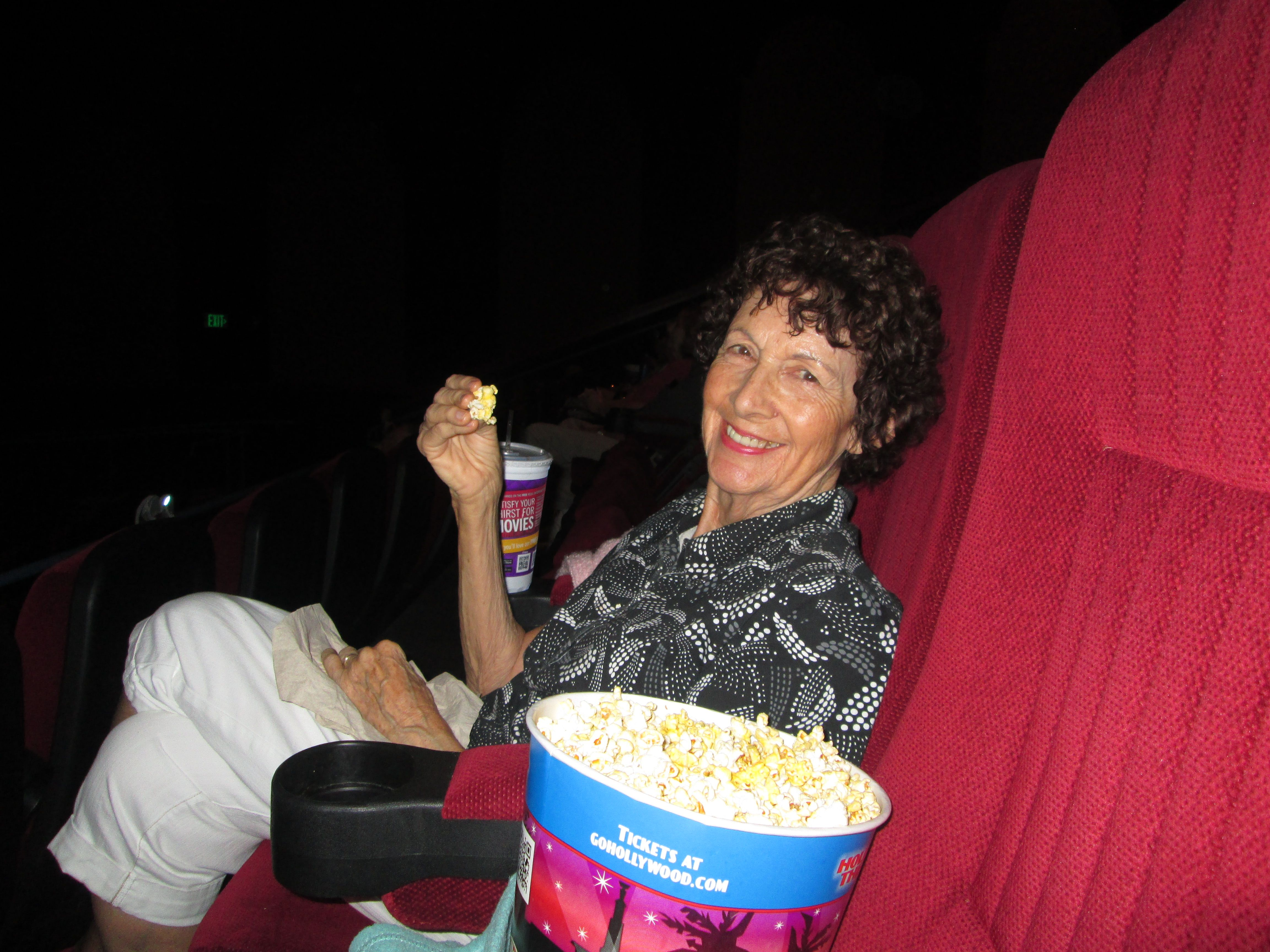 My mom and I love going to the movies. I always take a little blanket, as she gets cold so easy. And I always 'splurge' on the extras...popcorn, soda, etc....she is worth it!