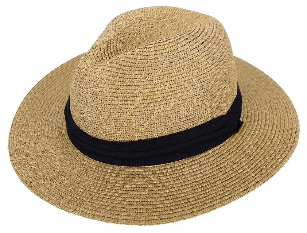 Men/'s Beach Summer Wide Brim Panama Fedora Straw Sun Hats