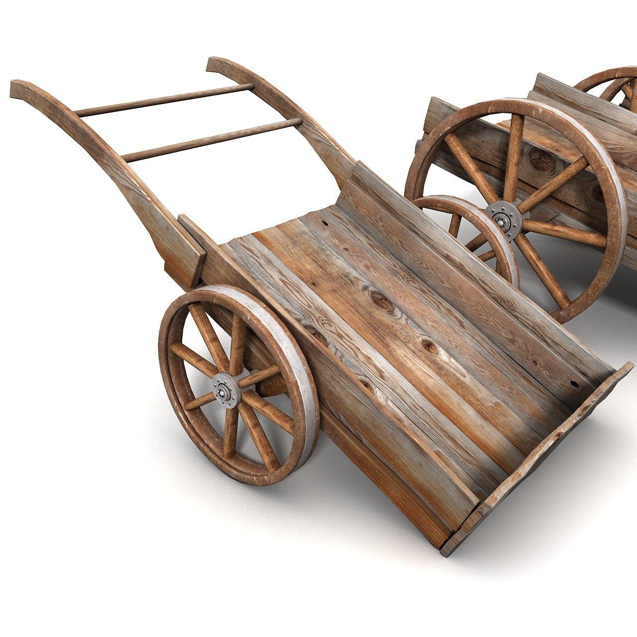 Wood Wheelbarrow: Carriage Old 3d Model