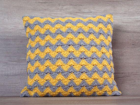 Cute summer crochet cushion pillow, chevron pattern european sham ...