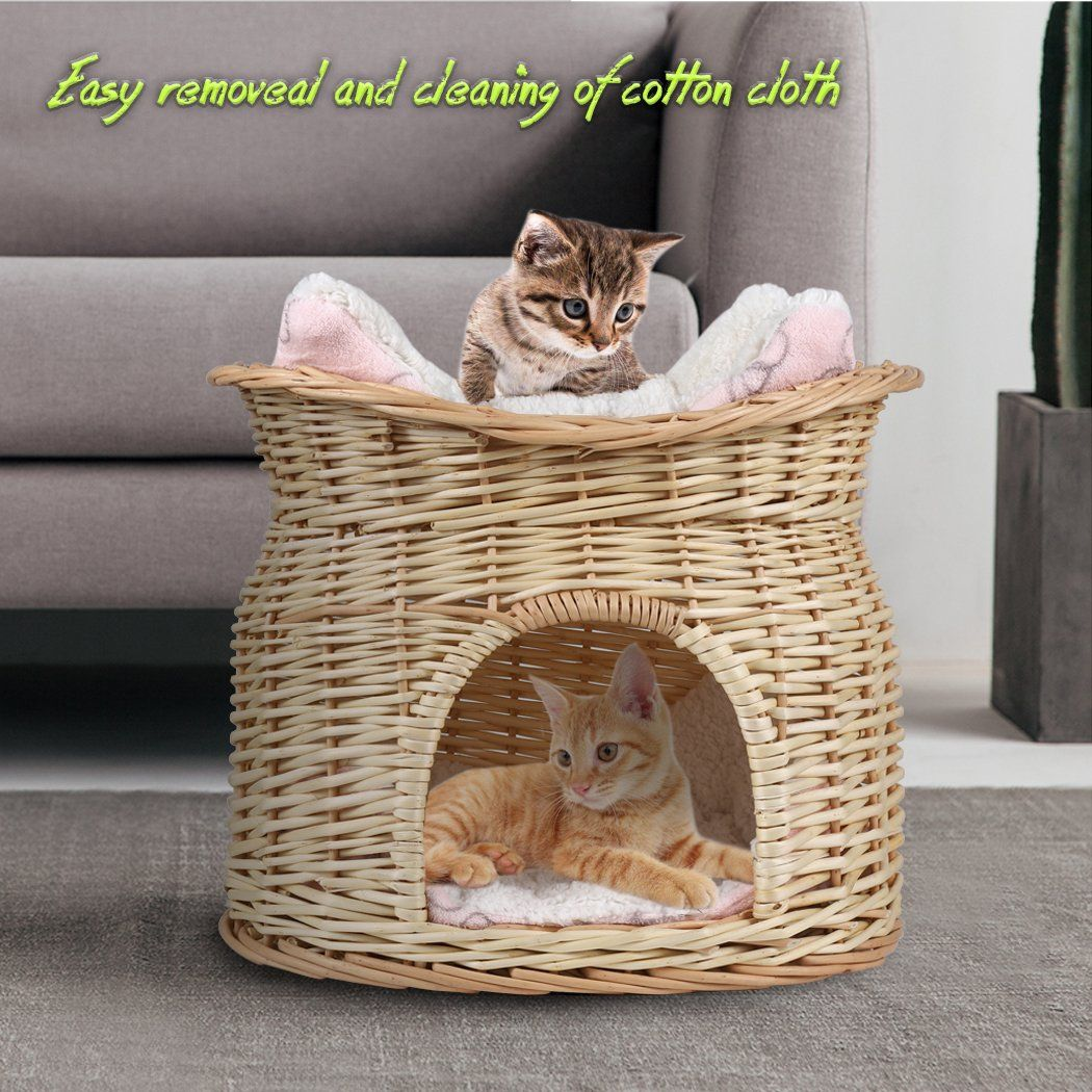 Losy Pet Handmade Wicker Basket Cat Bed Cave Two Tier Dog House Pet Home Rattan Furniture Kennel Perfect Kitten Gift With So Basket Dog Bed Cat Basket Pet Pods