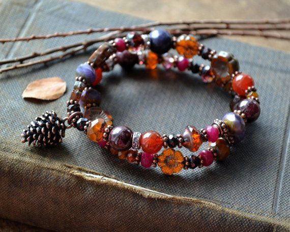 075395384a Rustic Glass and Stone Double Strand Stretch Bracelet