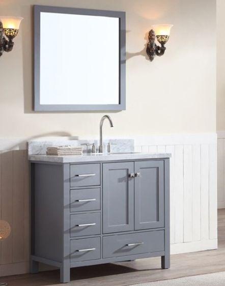 37 Inch Single Sink Grey Finish Bathroom Vanity Carrara White Marble Top