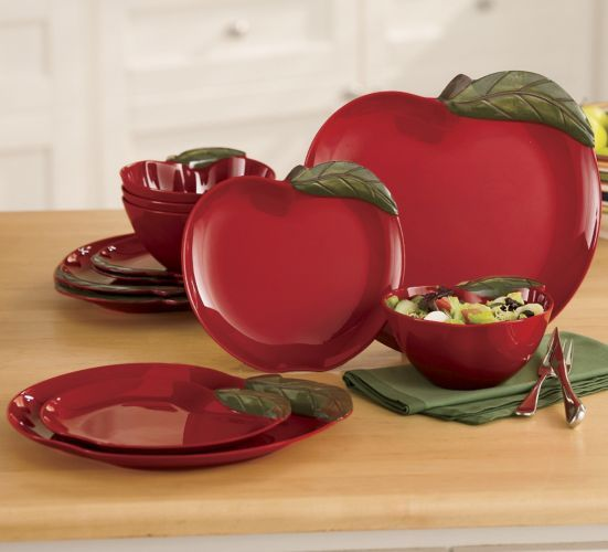 16 Piece Apple On Branch Dinnerware Apple Kitchen Decor