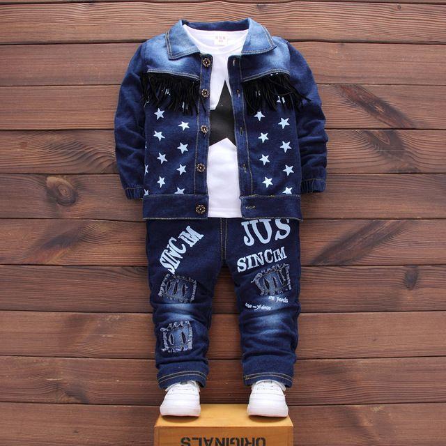 7430a5f9d DIIMUU 3 PC Moda Bebê Roupas Meninos Denim Ternos Criança Roupas Infantis  Menino Roupas Casuais T-Shirt Casaco Calças Jeans Fit 1-4Y