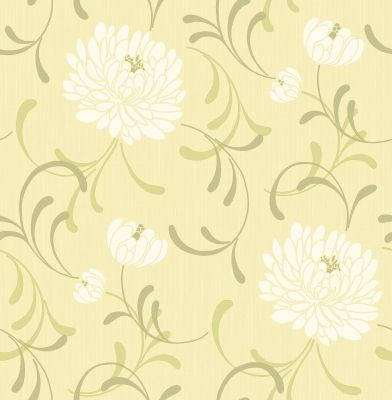 Linen Floral (M0190) - Albany Wallpapers - A delicate chrysanthemum floral design with a subtle linen weave effect base.  Colour shown is a white flower on a light lemony green.  Please ask for a sample for true colour match.
