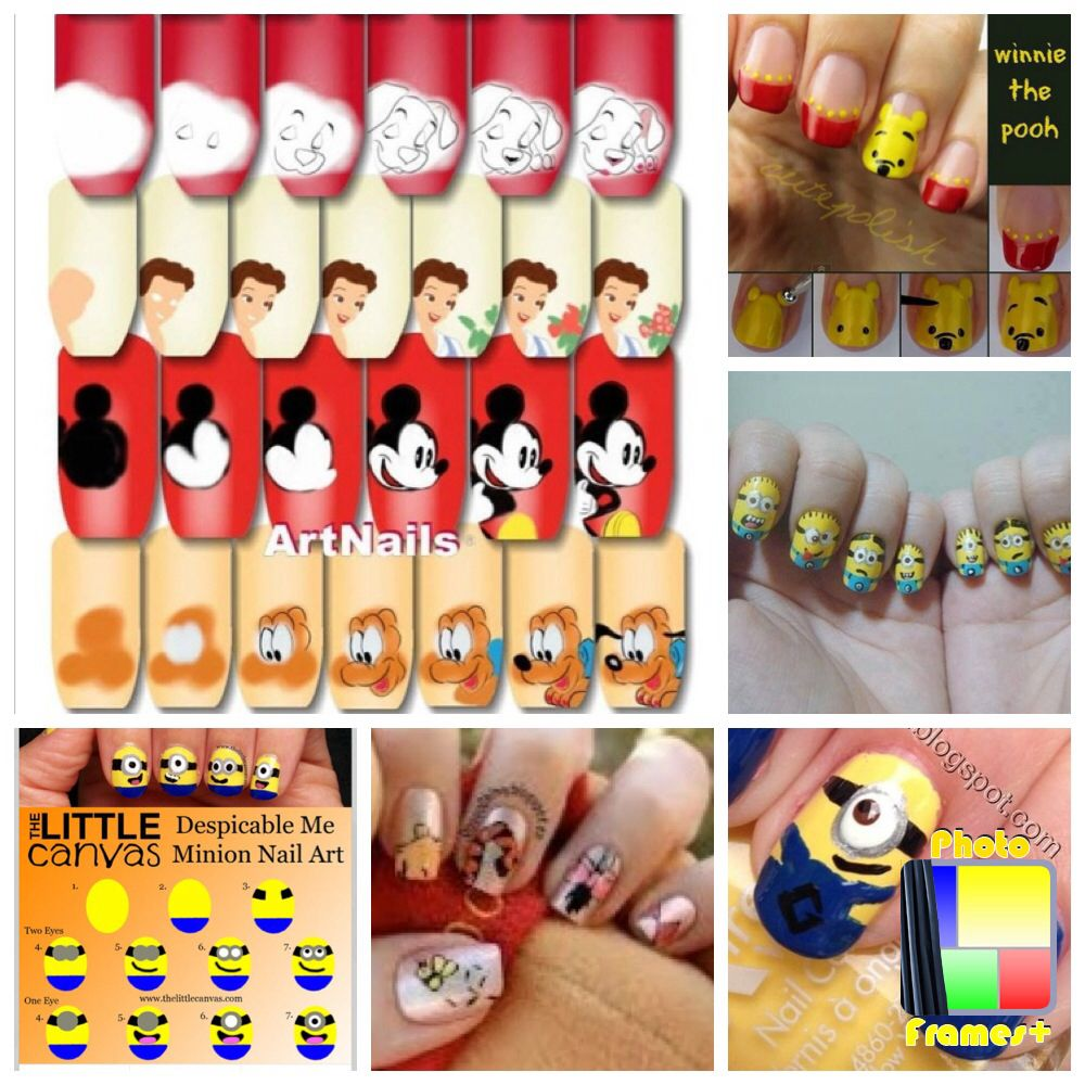 Dalmatian,pooh,belle,Mickey Mouse,Pluto,minions and pooh | Nails ...