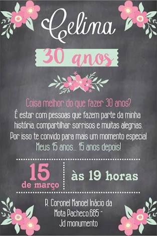 Resultado De Imagem Para Convite Aniversário De 30 Anos Convite 30