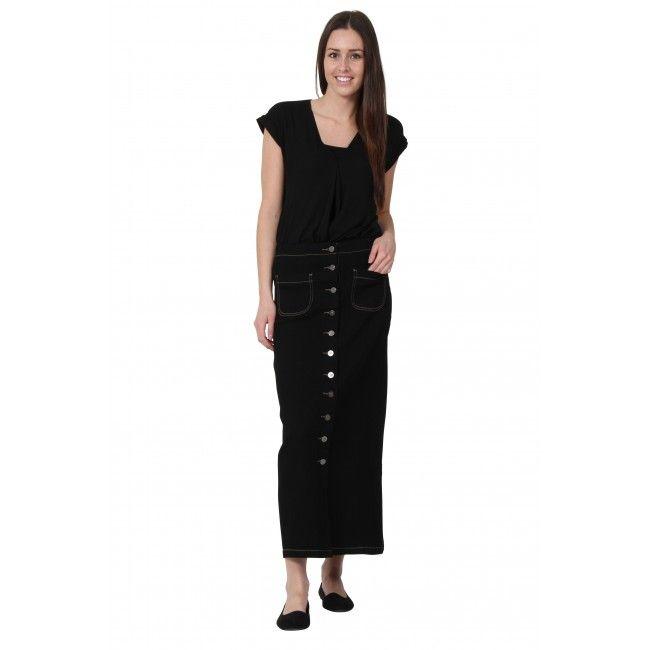 a4d6d0442 'Rita' Black Long Denim Skirt. modest skirt #modestfashion  #denimskirtsonline. '