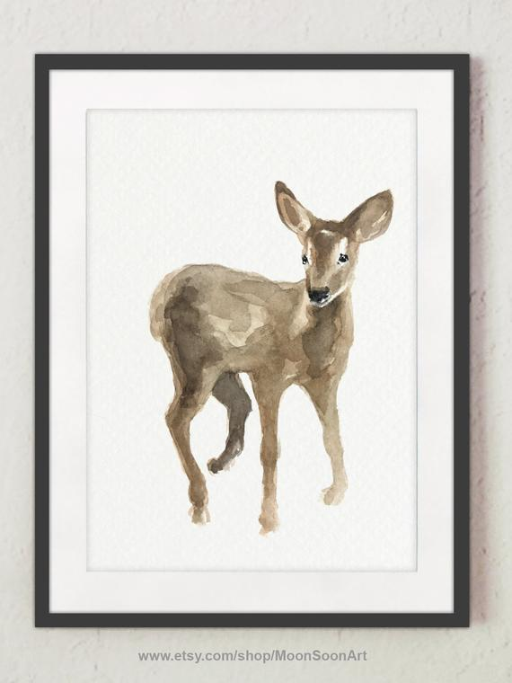 f722e90f2 Fawn Deer Brown Beige Home Decor Drawing, Livingroom Colorful Decoration,  Forest Motive Watercolor I