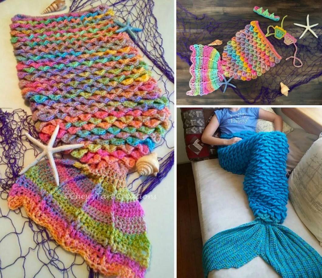 Crochet Mermaid Blanket Tutorial Youtube Video DIY | Cola de sirena ...