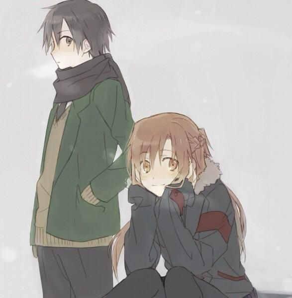 Asuna and Kazuto<<< So, please tell me I'm not the only one that sees Asuna has Kazuto's coat on?