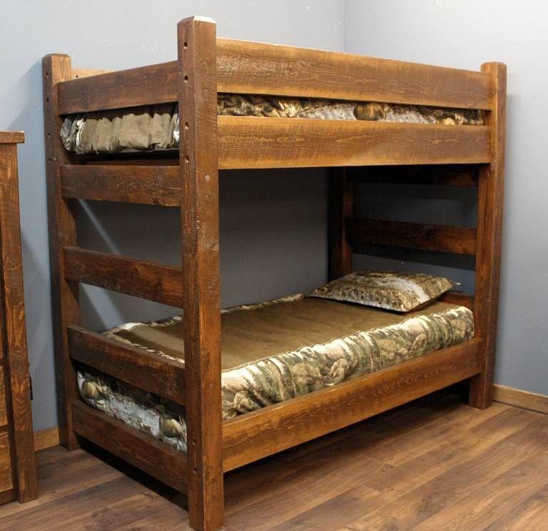 Lodge Xl Twin Over Xl Twin Barnwood Bunk Bed Diy Bunk Bed Bunk