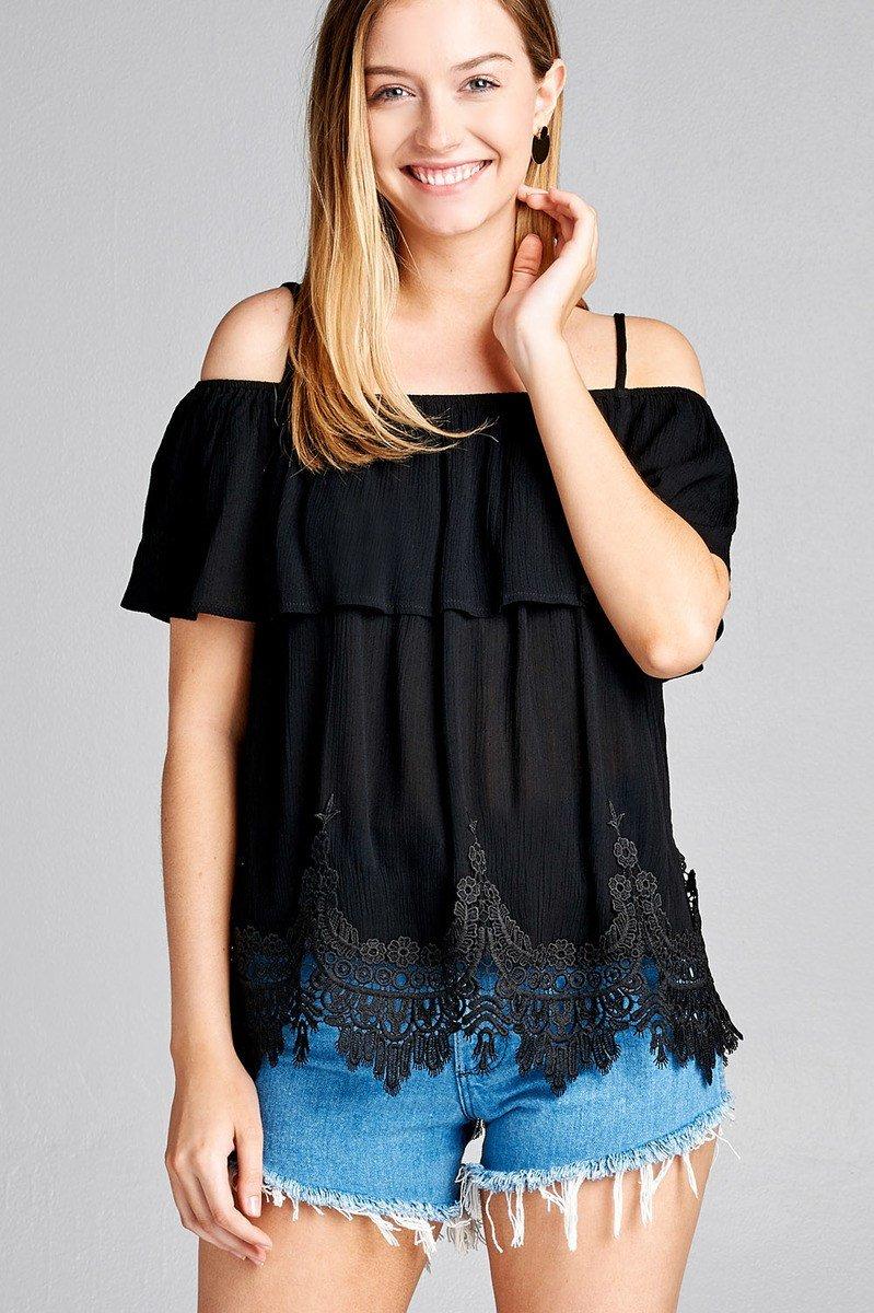 ea0dca69f93f6 Ladies fashion flounce open shoulder w hem crochet lace crinkle gauze –  Just Viva