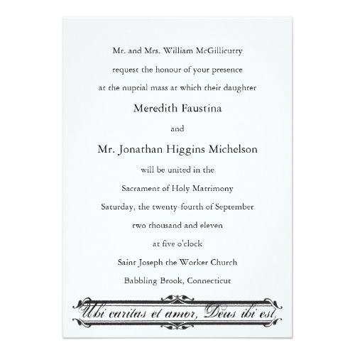 Christian Wording For Wedding Invitations: Ubi Caritas Et Amor Catholic Wedding Invitation
