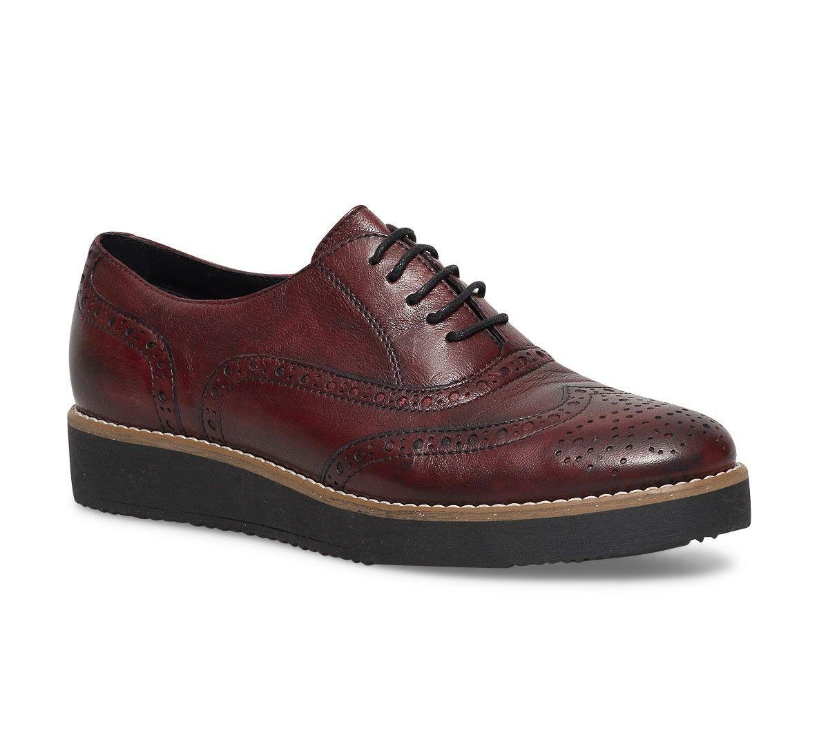 Richelieu cuir rouge - Derbies - Chaussures femme   Piedspieds ... b301d89c5bfe