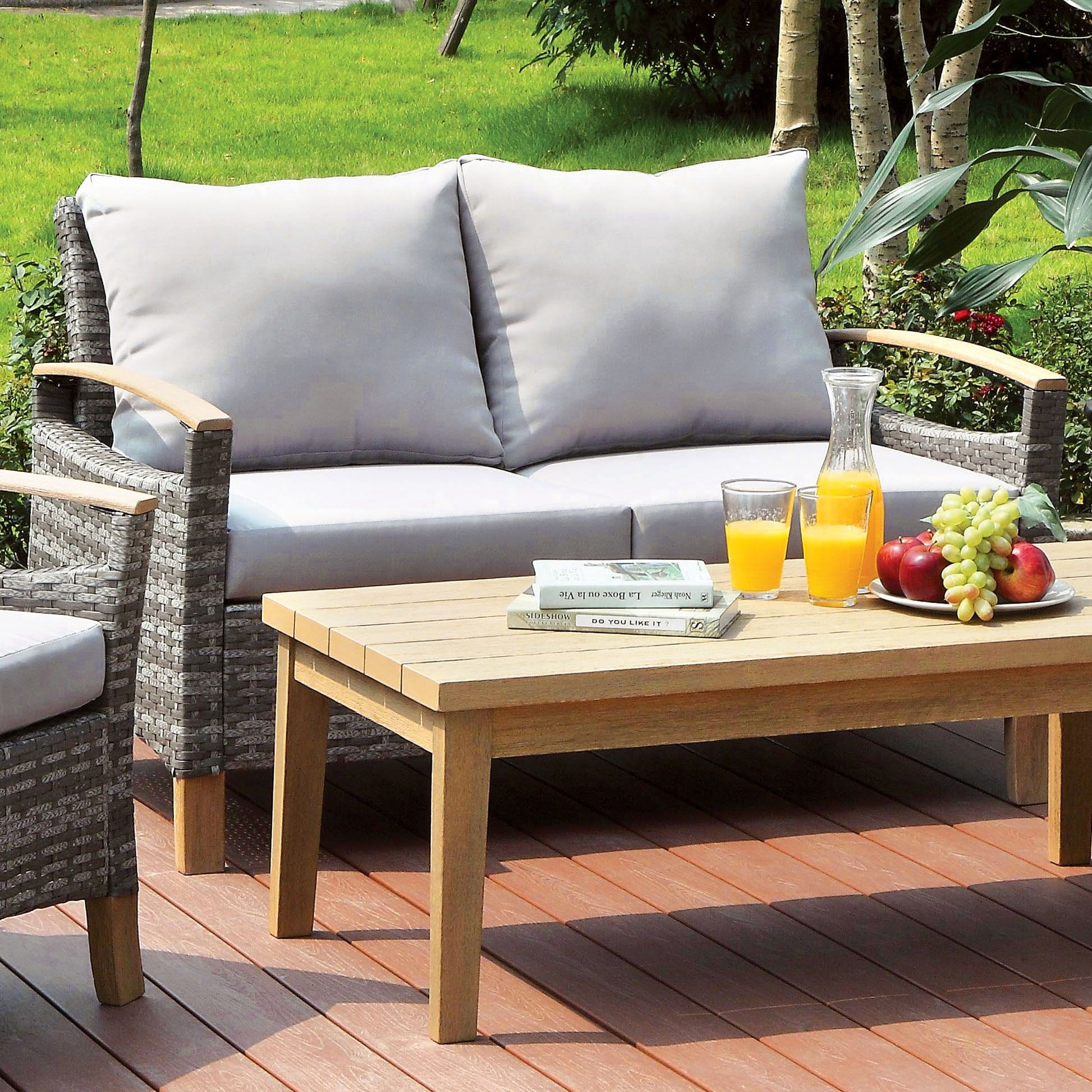Furniture of America Malone Contemporary Outdoor Aluminum Wicker