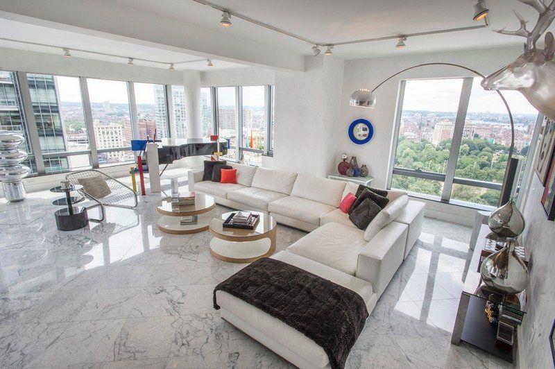 Modernes Wohnzimmer Wohnideen - Marmorfliesen am Boden verlegen ...