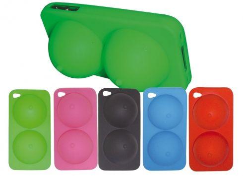 COVER iPHONE4 TETTE IN 5 COLORI Cover phone4 in silicone a forma di tette in 5 colori assortiti