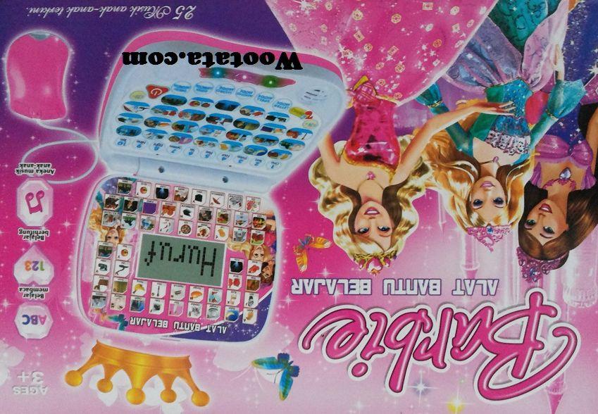 mainan laptop anak karakter barbie