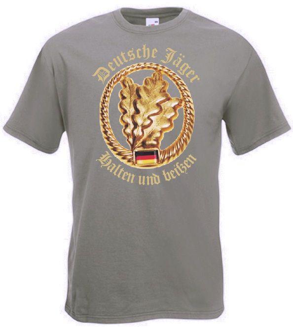 Bundeswehr T-Shirt deutsche Jäger - halten und beißen in Farbe oliv  / mehr Infos auf: www.Guntia-Militaria-Shop.de
