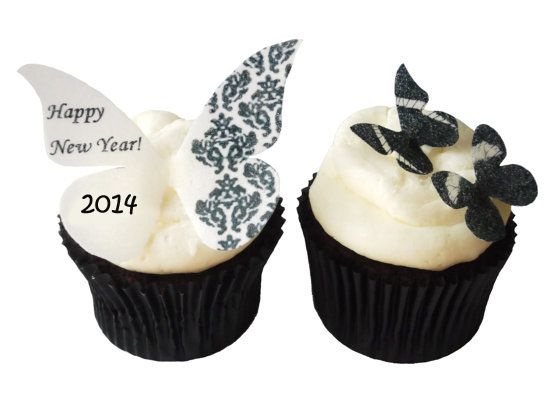 New Years Eve Cupcake Decorations | Edible butterfly ...