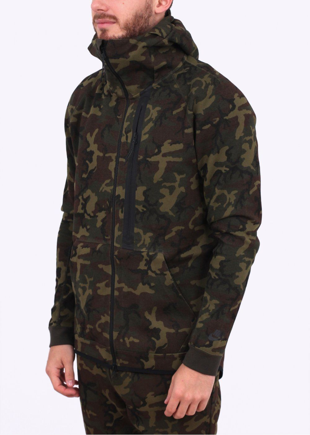 48f8eeb59939e Nike Apparel Tech Fleece Camo Hoody - Green | Nike tech fleece ...