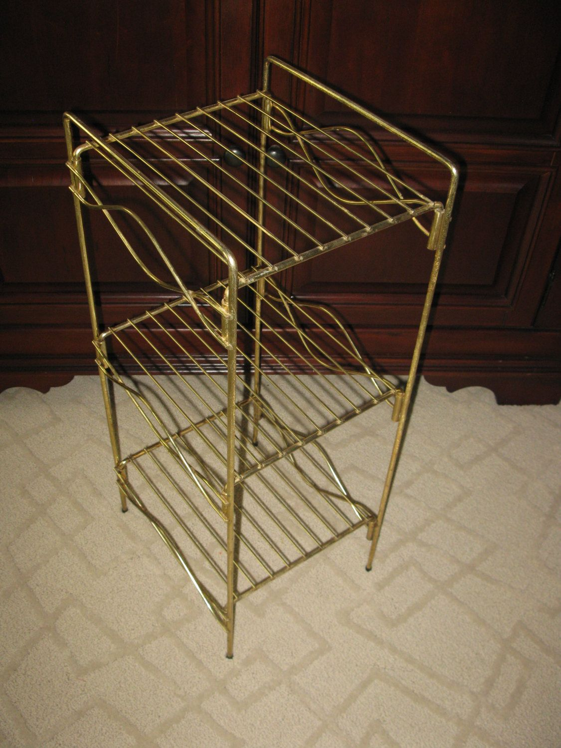 Mid Century Plant Stand Vintage Metal Stand Gold Tone Mid Century Stand 3 Tier Sturdy