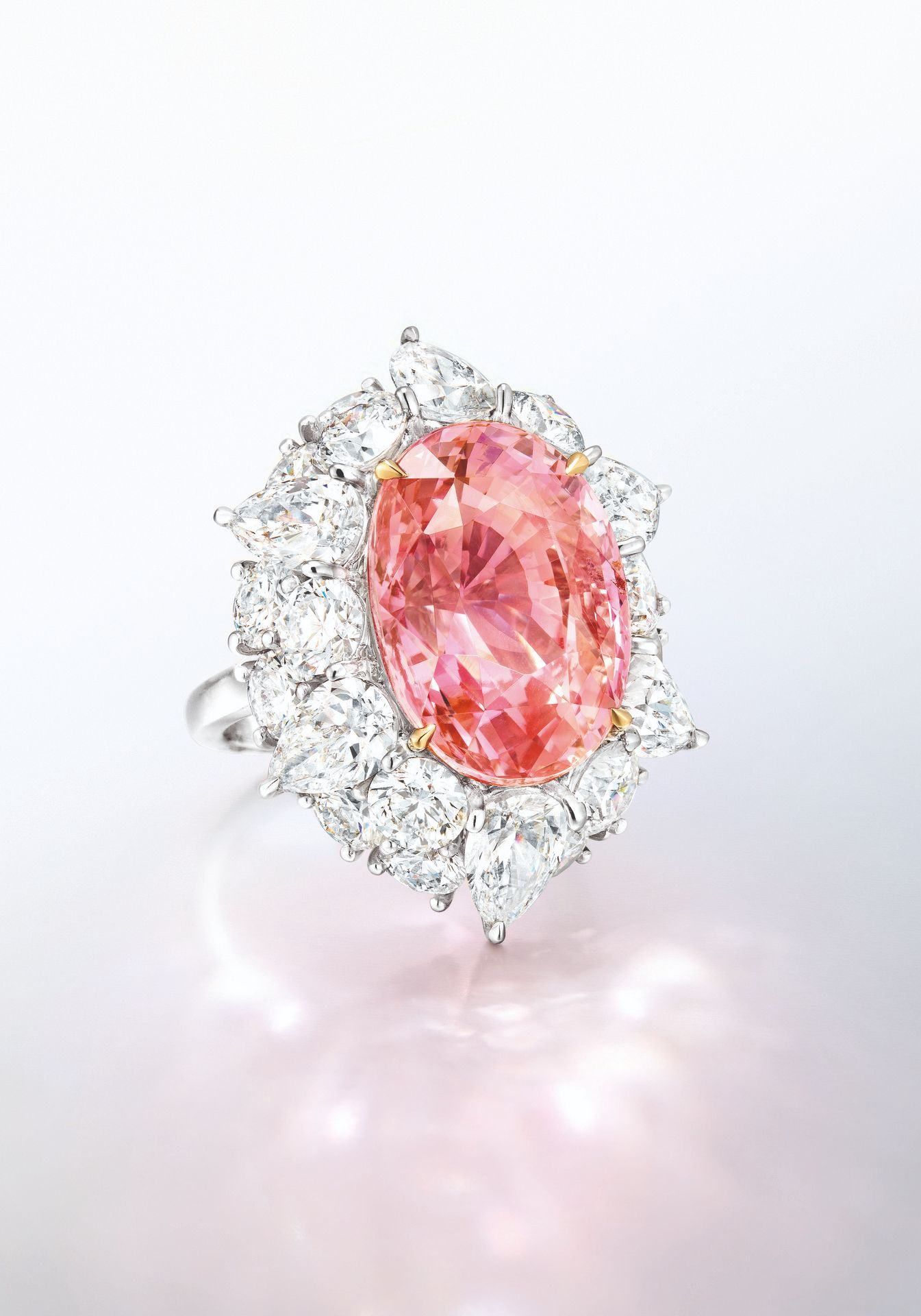 A 21.20-carat Unheated Sri Lankan Padparadscha Sapphire and Diamond ...