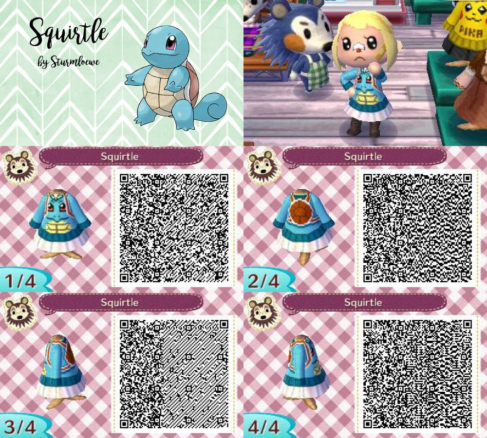 Animal Crossing New Leaf Qr Code Cute Squirrel Schiggy Dress Outfit Blue Water Pokemon Hoodie Cross Animal Crossing Animal Crossing Qr Qr Codes Animal Crossing
