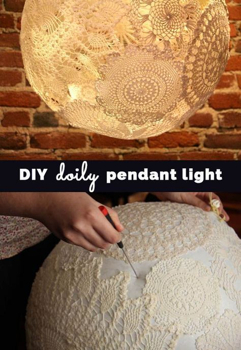 DIY Doily Pendant Lighting Cool Bedroom Decor Ideas and Creative