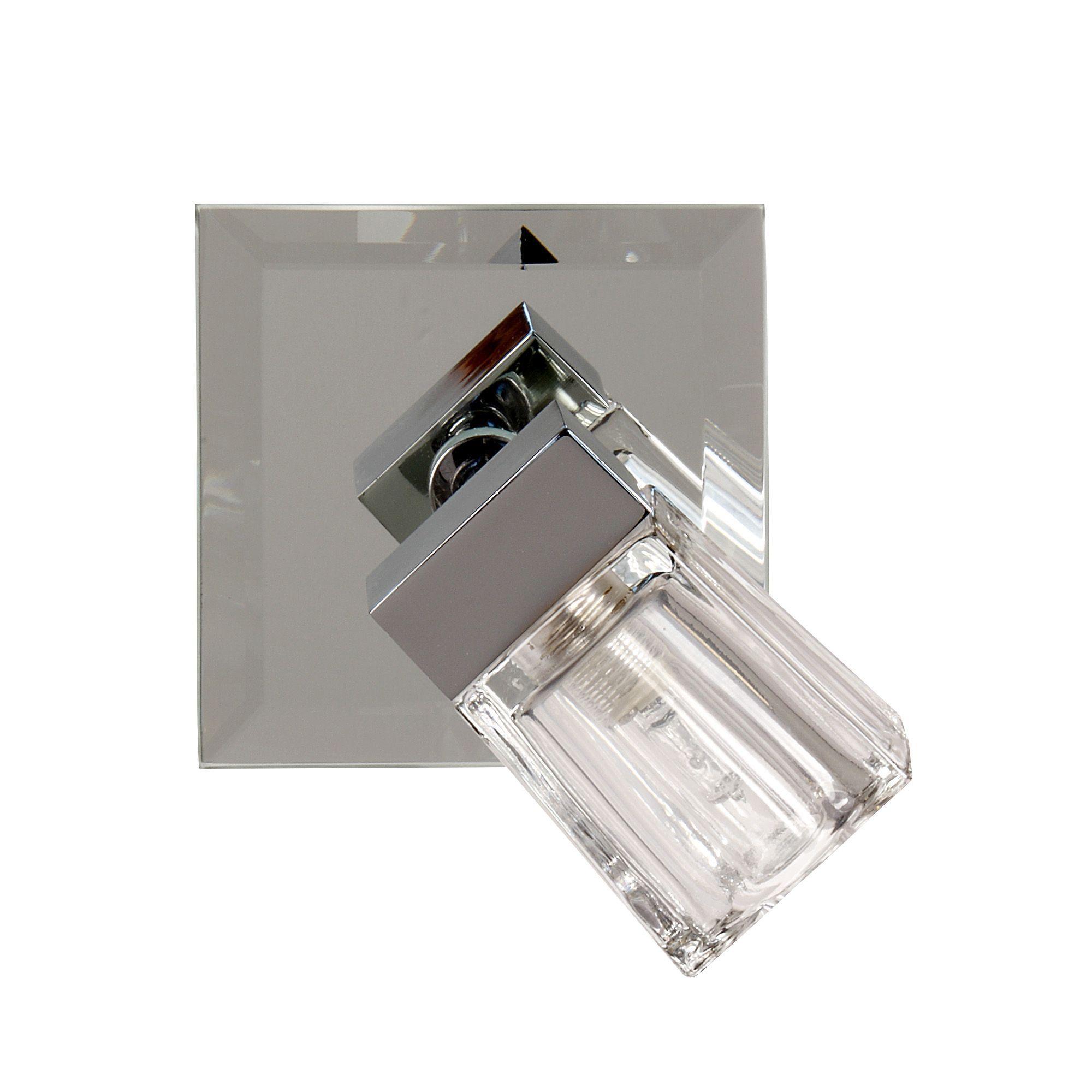 spot orientable 1 lumi re de salle de bain chrome verre. Black Bedroom Furniture Sets. Home Design Ideas