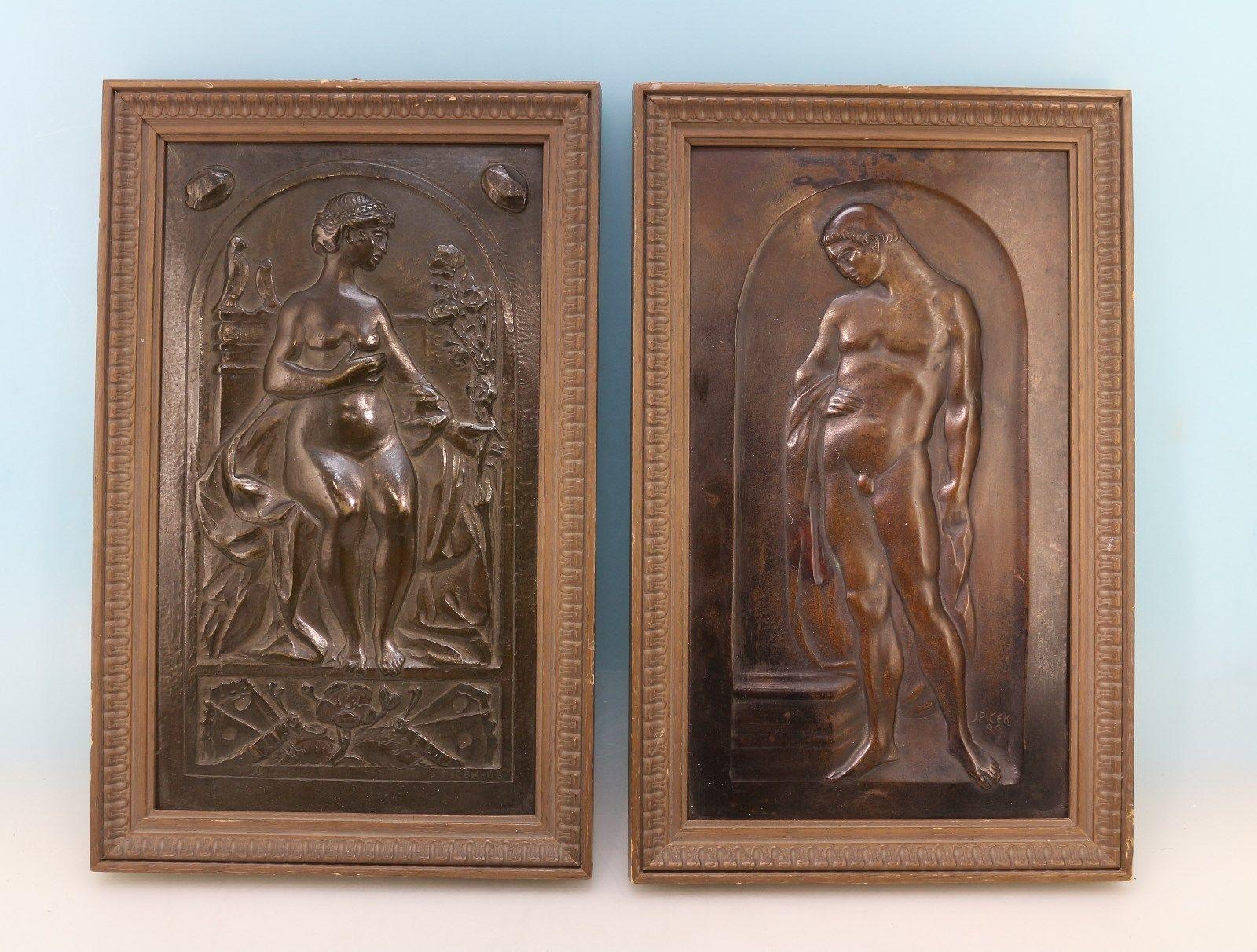 Paar Jugendstil Bronze Reliefs J. Picek 1906 in Antiquitäten & Kunst, Design & Stil, 1890-1919, Jugendstil   eBay!
