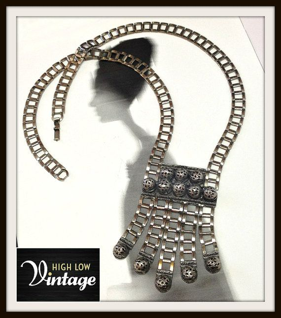 Vintage Silver Statement Necklace Egyptian by HighLowVintage