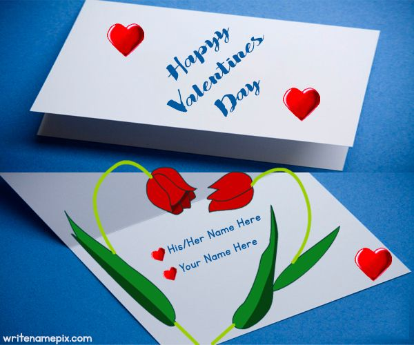 write your name on happy valentines day greeting card with your valentines name