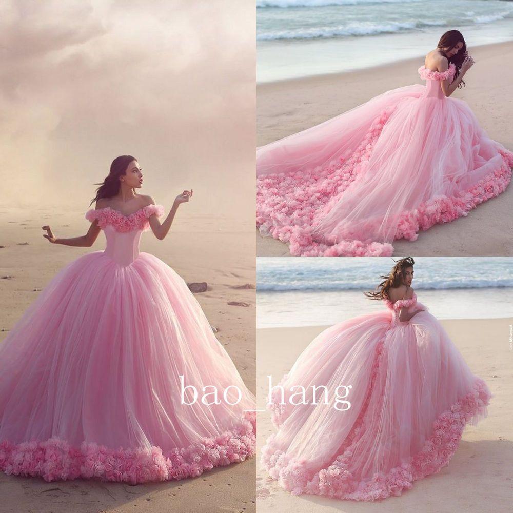 Cinderella Princess Pink Floral Applique Wedding Dress Off Shoulder ...