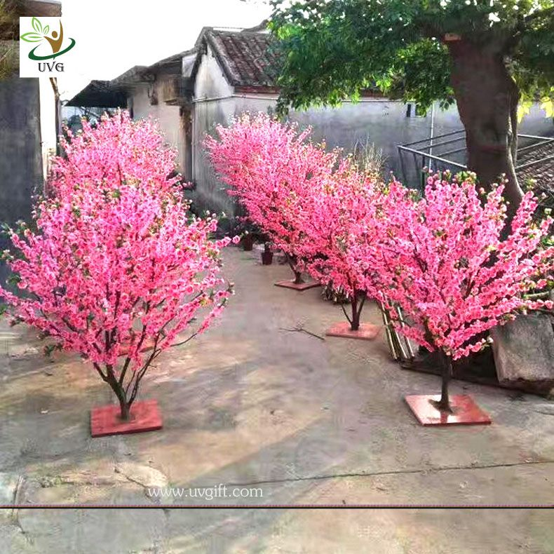 Uvg Small Artificial Peach Blossom Wooden Tree Wedding Reception Decorations Selling Products Blossom Tree Wedding Artificial Cherry Blossom Tree Tree Wedding