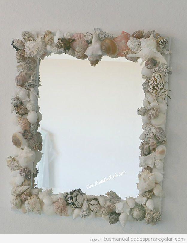 Espejo diy decorado con caracolas y conchas marinas - Espejos decorados a mano ...