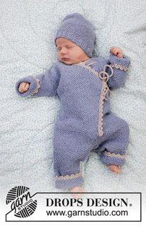 Photo of Babyprat – Strikket i ett stykke med strikkede ermer og lue til babyer med perlemønster, rygger og heklekant. Settet er strikket i DROPS BabyMerino. Størrelse i ett stykke: 1 måned til 2 år. Størrelseshat: premature baby opp til 4 år. – Gratis mønster av DROPS Design
