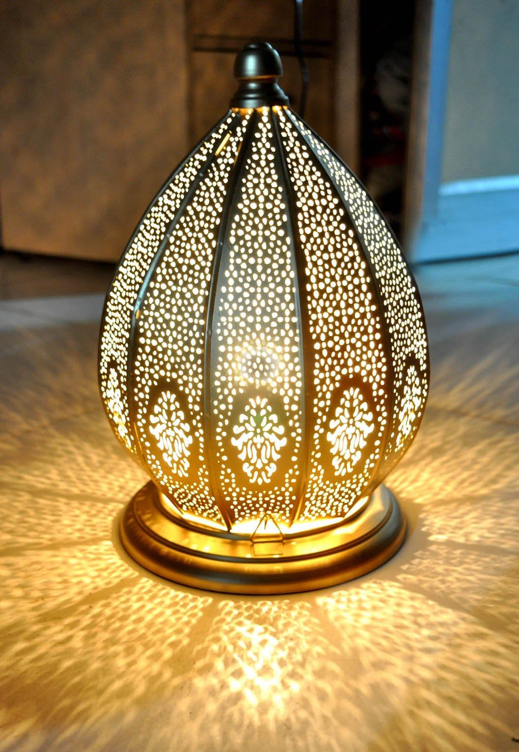 Moroccan Table Lamp Bedside Desk Light Metal Lamps Shade For Study