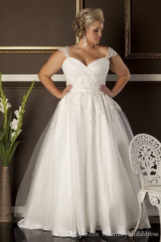 A Line Plus Size Wedding Dresses Sweetheart Neckline Cap Sleeves Lace Liques Formal Lady Bridal Gowns