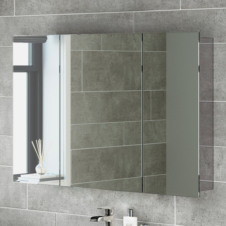 600 X 900 Stainless Steel Bathroom Mirror Cabinet Modern Triple Door  Storage Unit: IBathUK: Amazon.co.uk: DIY U0026 Tools