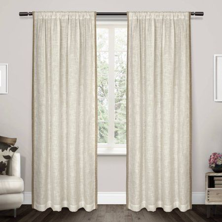 Exclusive Home Baja Natural Linen with Toned Border Rod Pocket Window Curtain Panel Pair, 54x84, Beige