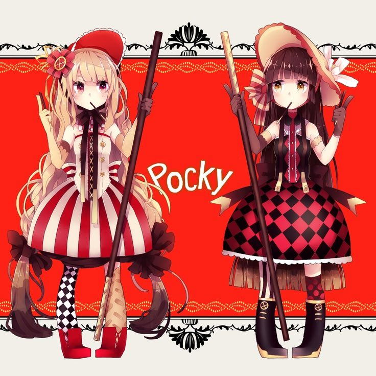 ♥ P O C K Y!! ♥ delicous japanese snack~☆ anime art. . .pocky girls. . .cute fashion. . .bonnets. . .ribbons. . .long hair. . .cute. . .kawaii