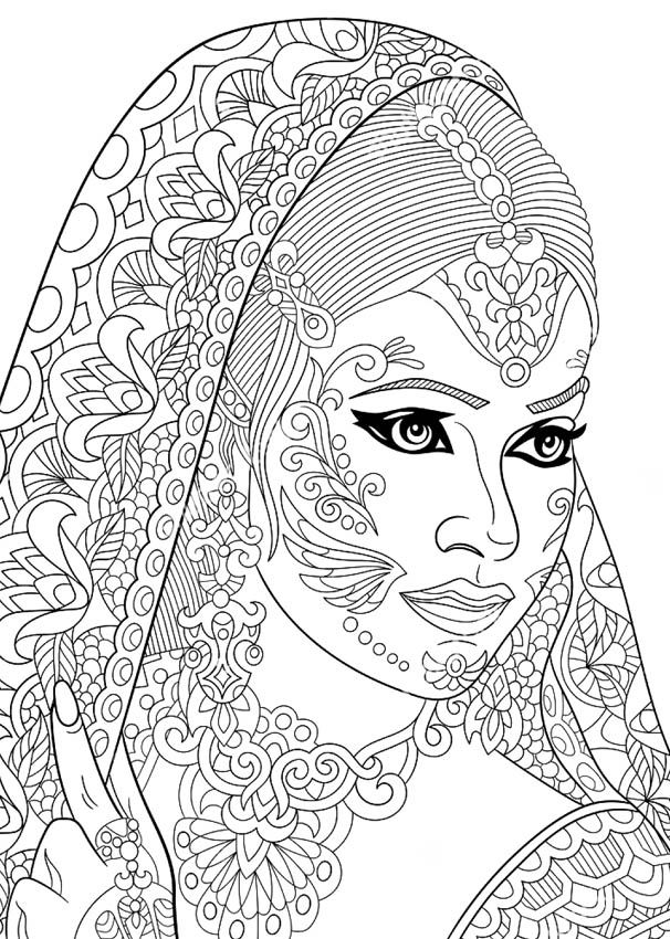 Beautiful Indian Bride coloring