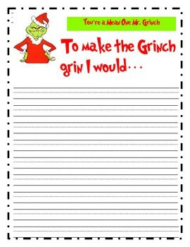 writing paper for how i would make the grinch grin