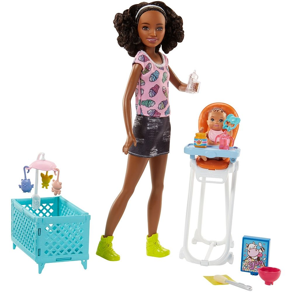Play out common babysitting moments with these Barbie play