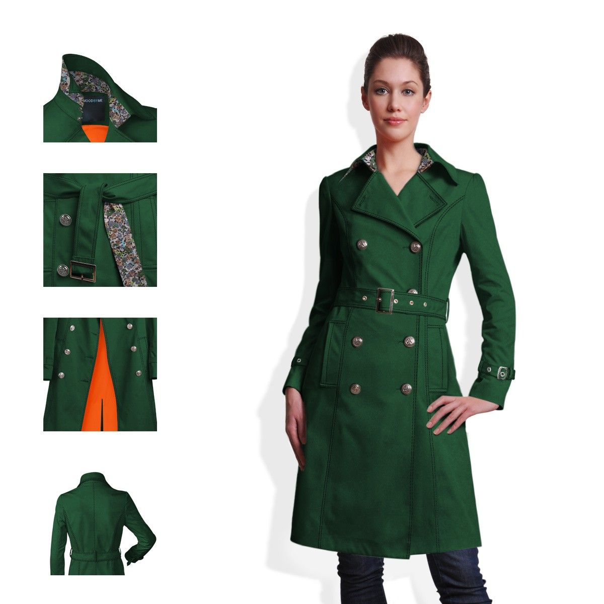 Legacy green Trench Coat, Puff sleeves, Orange Lining | Green ...